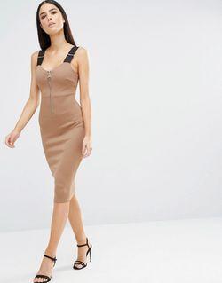 Облегающее Платье Миди На Молнии С Бретельками AX Paris                                                                                                              Мокка цвет