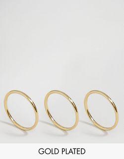 Набор Из 3 Позолоченных Колец С Золотым Pilgrim                                                                                                              С Золотым Покрытием цвет