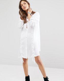 Платье-Рубашка С Шнуровкой Белый boohoo                                                                                                              белый цвет
