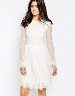 Кружевное Платье С Длинными Рукавами Кремовый Glamorous                                                                                                              Кремовый цвет