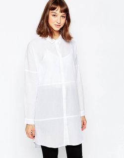 Удлиненная Рубашка Без Воротника 000 Белый Minimum                                                                                                              белый цвет