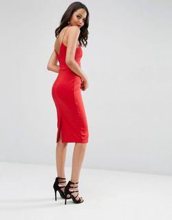 Облегающее Платье Миди С Глубоким Вырезом Красный Asos                                                                                                              красный цвет