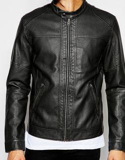 Куртка Из Искусственной Кожи С Байкерским Воротником Jack & Jones                                                                                                              черный цвет