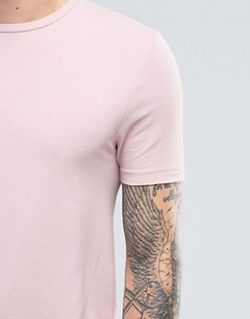 Розовая Меланжевая Удлиненная Футболка С Круглым Вырезом Asos                                                                                                              None цвет