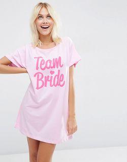 Oversize-Футболка С Принтом Team Bride Bridal Мульти Asos                                                                                                              многоцветный цвет