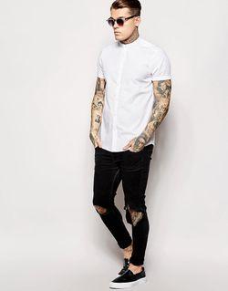 Рубашка С Короткими Рукавами И Воротником На Asos                                                                                                              белый цвет