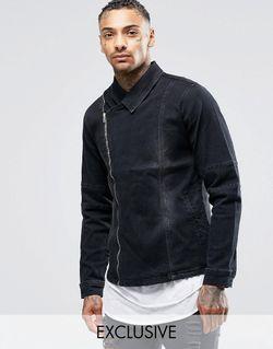 Черная Джинсовая Куртка С Потертостями И Выбеленным Liquor & Poker                                                                                                              чёрный цвет