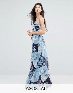 Wedding Chiffon Bandeau Printed Maxi Dress Темно-Синий ASOS TALL                                                                                                              None цвет