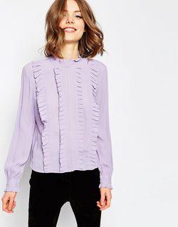 Винтажная Блузка С Оборками И Высокой Горловиной Asos                                                                                                              фиолетовый цвет