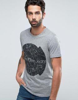 Футболка С Потрескавшимся Логотипом Jeans Серый Calvin Klein                                                                                                              None цвет