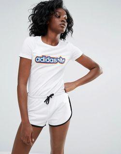 Футболка С Логотипом Белый Adidas                                                                                                              None цвет