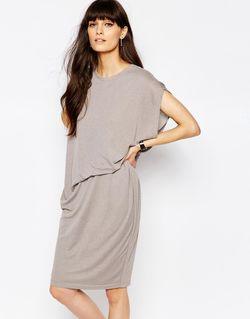 Трикотажное Платье С Асимметричной Сборкой На Талии Paisie                                                                                                              серый цвет