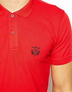 Футболка-Поло Из Хлопка Пике С Вышивкой Homme Selected                                                                                                              красный цвет