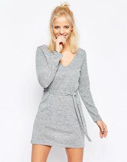 Платье С Завязкой На Талии Серый Influence                                                                                                              серый цвет