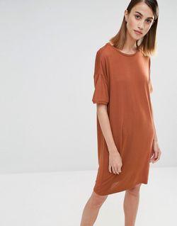 Платье-Футболка Elva Rustic Brown Selected                                                                                                              коричневый цвет