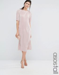 Plisse T-Shirt Dress Blush ASOS TALL                                                                                                              None цвет