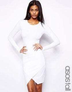Облегающее Платье С Запахом ASOS TALL                                                                                                              белый цвет