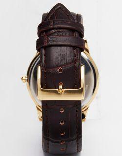 Часы С Кожаным Ремешком И Позолоченным Циферблатом Sekonda                                                                                                              коричневый цвет