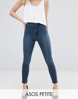 Rivington Denim High Waist Jeggings In Claire ASOS PETITE                                                                                                              синий цвет