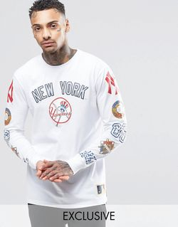 Yankees Long Sleeve T-Shirt With Yankees Sleeve Majestic                                                                                                              None цвет