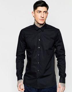 Строгая Черная Рубашка Узкого Кроя Из Эластичного Minimum                                                                                                              черный цвет