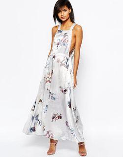 Платье Макси С Размытым Цветочным Принтом Мульти Asos                                                                                                              многоцветный цвет