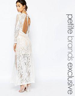 Кружевное Платье Макси С Открытой Спиной Premium True Decadence Petite                                                                                                              белый цвет