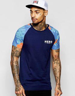 Футболка С Рукавами Реглан И Цветочным Принтом Heros Heroine                                                                                                              синий цвет