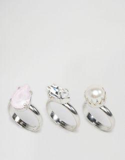 3 Кольца С Кристаллами Swarovski Krystal                                                                                                              None цвет
