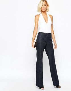 River Island High Waisted Tailored Flare Trouser River Island                                                                                                              Деним цвет