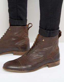 Коричневые Кожаные Ботинки На Шнуровке Asos                                                                                                              коричневый цвет