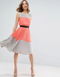 Плиссированное Платье В Стиле Колор Блок Мульти Asos                                                                                                              многоцветный цвет