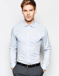 Облегающая Эластичная Рубашка Светло-Голубой Selected Homme                                                                                                              голубой цвет