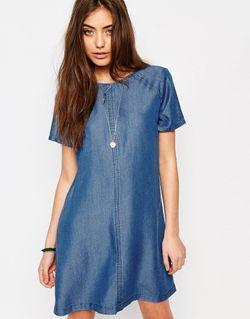 Джинсовое Цельнокройное Платье Abercrombie Fitch Деним Abercrombie and Fitch                                                                                                              Деним цвет