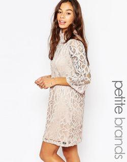 Кружевное Платье С Рукавом До Локтя Шампанское Vero Moda Petite                                                                                                              Шампанское цвет