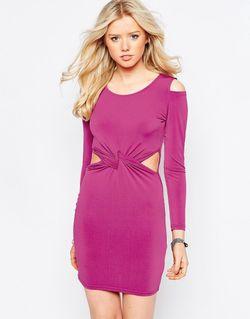 Облегающее Платье Мини С Перекрутом На Талии Glamorous                                                                                                              Малиновый цвет