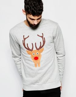 Christmas Sweatshirt With Reindeer And Tail Back Asos                                                                                                              серый цвет