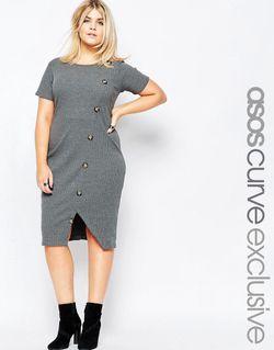 Облегающее Платье В Рубчик С Пуговицами Спереди ASOS CURVE                                                                                                              Угольный цвет