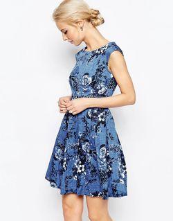 Платье В Джинсовом Стиле С Завязкой Сзади Closet London                                                                                                              синий цвет