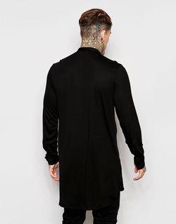 Супердлинная Трикотажная Рубашка С Воротником На Пуговице Asos                                                                                                              Черный цвет
