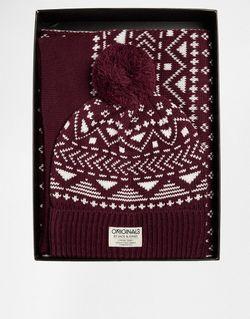 Подарочный Набор С Шарфом И Шапкой-Бини Jack Jack & Jones                                                                                                              красный цвет