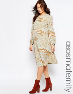 Платье Миди С Принтом Мульти ASOS Maternity                                                                                                              многоцветный цвет