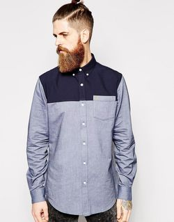 Рубашка Зауженного Кроя С Контрастной Вставкой Темно-Синий Farah                                                                                                              синий цвет