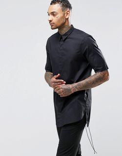 Черная Полупрозрачная Рубашка С Укороченными Рукавами Черный Asos                                                                                                              черный цвет