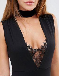 Petite Lace Insert Plunge Mini Dress Черный Asos                                                                                                              None цвет