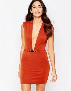 Облегающее Платье С Глубоким Вырезом Красно-Бурый Rare                                                                                                              Красно-Бурый цвет