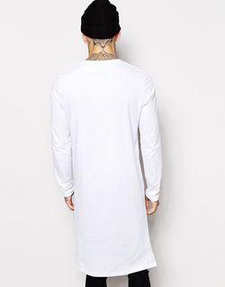 Длинный Лонгслив С Асимметричной Кромкой Asos                                                                                                              Белый цвет