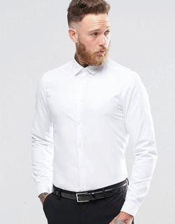 Белая Строгая Рубашка Добби Классического Кроя Белый Asos                                                                                                              белый цвет