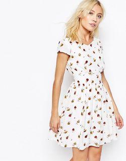Чайное Платье С Принтом Роз Кремовый Iska                                                                                                              Кремовый цвет