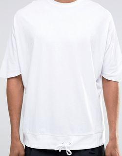 Белая Оversize-Футболка Со Шнурком По Краю Asos                                                                                                              белый цвет